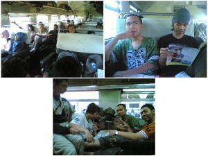 teman-teman KMJB di kereta waktu mudik bareng tahun 2005