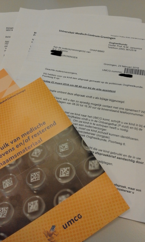 Surat dari UMCG untuk Kinan