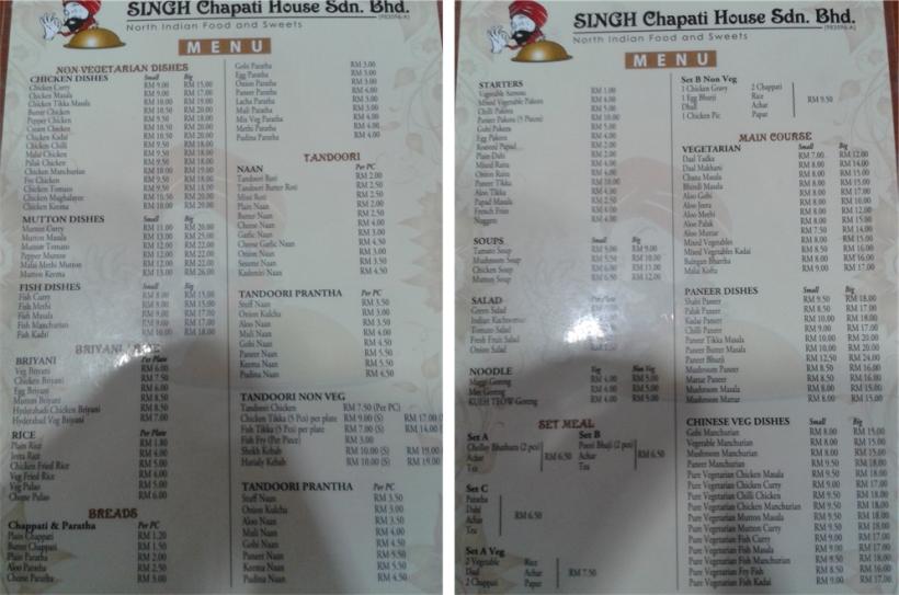 The menus.