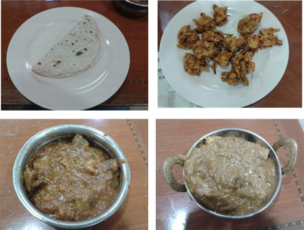 chappati, mixed vegetable pakora, chicken curry, mutton curry