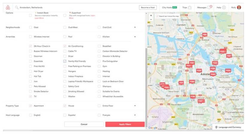 Pemilihan filter di Airbnb yang tidak tersedia di Serumah.com