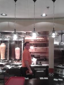 Inside kebab store